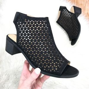 Shoes - NWT! Black Suede Hooded Block Heel Ankle Boot 6.5W